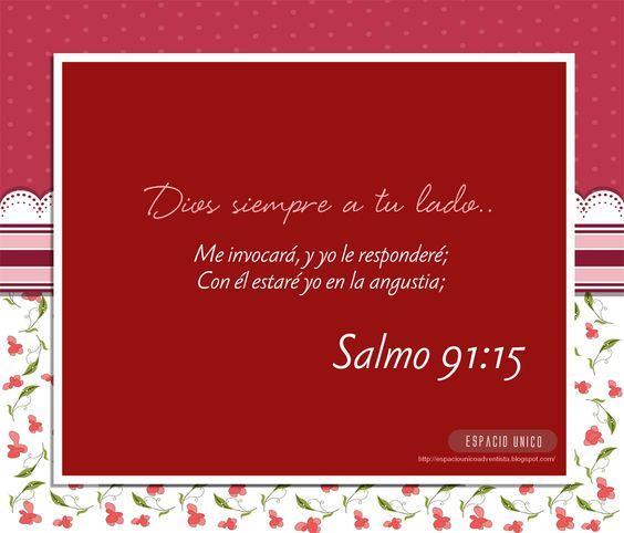 Salmo 91:14-16 Por cuanto en mí ha puesto su amor, yo también lo libraré; Le pondré en alto, por cuanto ha conocido mi nombre. Me invocará, y yo le responderé; Con él estaré yo en la angustia; Lo libraré y le glorificaré. Lo saciaré de larga vida, y le mostraré mi salvación.♔