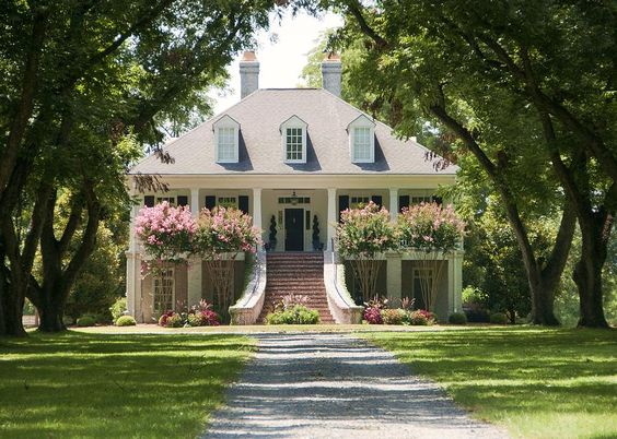Southern home complete with crepe myrtle
