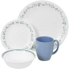 Corelle Livingware 16 Piece Pc Dinnerware Set 4 Country Cottage With Bowls Mugs