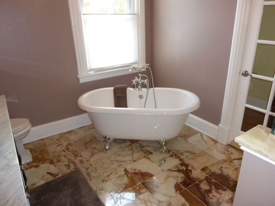 Claw Foot Tub Marble Tile Floor Mauve Walls Bathrooms By NJ Kitchens And