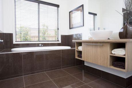 Bathroom stratus mocha polished brown 1x1 flooring for Mocha bathroom ideas