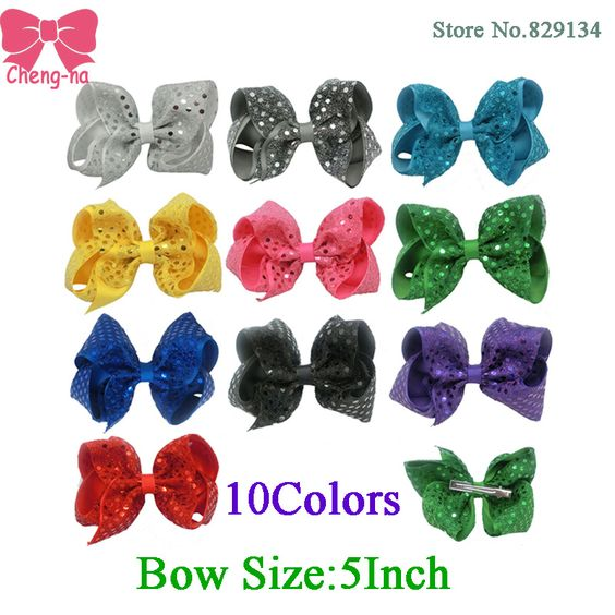 $13.14 (Buy here: http://appdeal.ru/92tw ) 5 Inch Fashion Sequin Hair Bow Hairpins Handmade Girls Hairbows Accessories Boutique Hair Clips For Children 10 Color In Stock for just $13.14