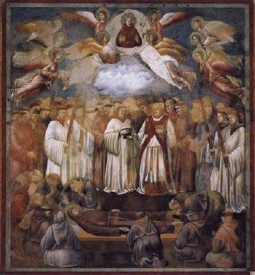 GIOTTO di Bondone Legend of St Francis: 20. Death and Ascension of St Francis  1300 Fresco, 270 x 230 cm Upper Church, San Francesco, Assisi  This is the twentieth of the twenty-eight scenes (twenty-five of which were painted by Giotto) of the Legend of Saint Francis.
