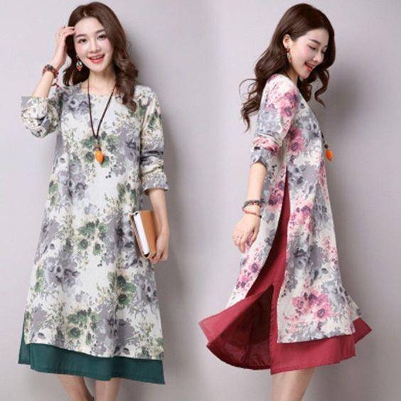 Vintage Women Loose Linen Foral Short Dresses Long Sleeve Fashion Hot Dress