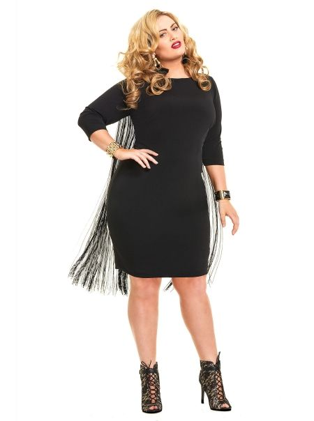 Plus size black fringe dress