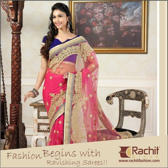 The Awesome Color Combination Ever... Designer #indigo and #Pink #Saree with Heavy Work Embellished over it !!  For more Collection: Visit: www.rachitfashion.com