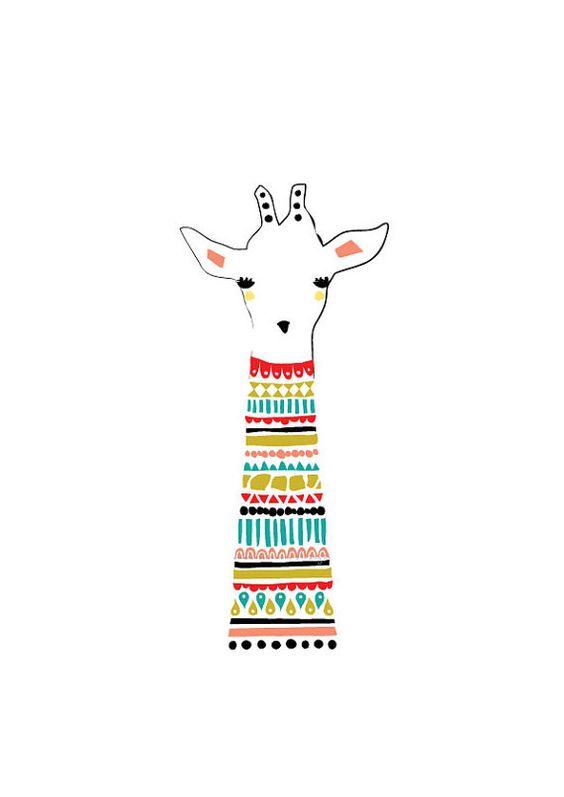 Girafe Art Print Illustration de l'Animal dessin par dekanimal