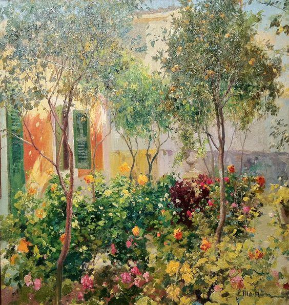 Eliseo Meifrén Roig. Jardín de Mallorca. Óleo sobre lienzo. Firmado. 84 x 80 cm.