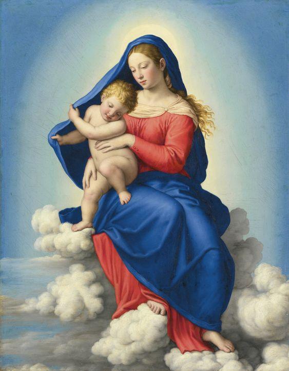 Giovanni Battista Salvi, called Sassoferrato (1609 -1685) — The Madonna and Child  in Glory (1556x2000):