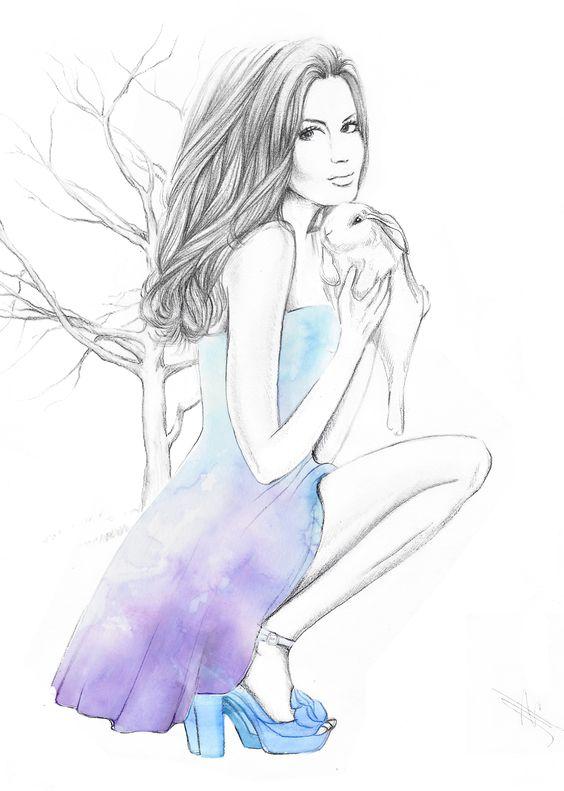 watercolours top cute bunny rabbit flower art illustration