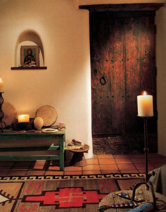 Hacienda style haciendas and furniture stores on pinterest for Decorating ideas for living room wall niche