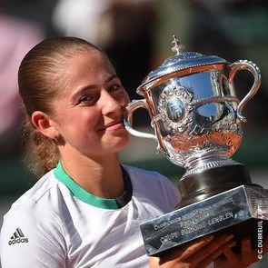 Jelena Ostapenko, the 2017 Roland-Garros women's singles champion.: