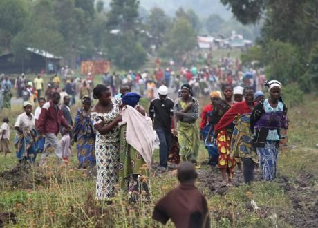 refugees fleeing violence in the democratic republic of congo find shelter in a crowded camp in rwamwanja