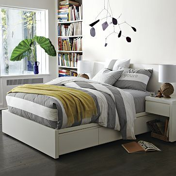 Storage Bed Frame - White #westelm  basic bed, all WE headboard will fit, and lots of side table options
