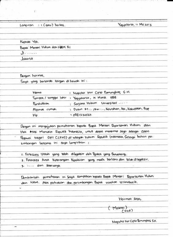 Surat Lamaran Kerja Harus Tulis Tangan  Contoh Lamaran Kerja dan CV  Pinterest