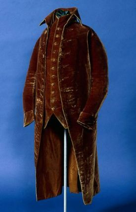 Frock coat and waistcoat--brown silk velvet (coat lined with linen at the sleeves and middle of back, lined with brown lutestring at the front and skirt; back of waistcoat made of reddish-brown wool twill, back lined with linen, front lined with brown lutestring) (American, c. 1775 - 1800, Museum of Fine Arts)