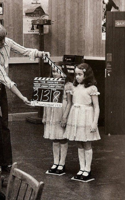 """On the set of """"The Shining"""" 1978< I truly don't like evil children in movies, they freak me out, and this one is the mother of all creepy."""