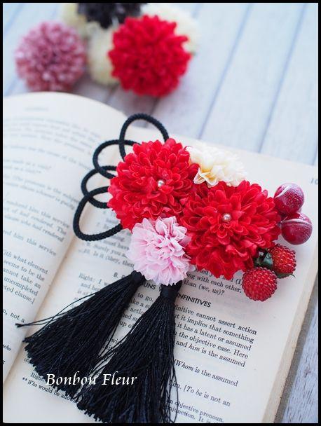 セミオーダー ブライダル髪飾りの画像:Bonbon Fleur ~ Jours heureux コサージュ&和装髪飾り