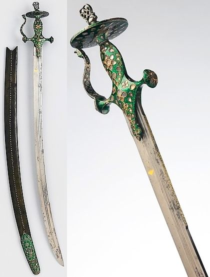 Indian tulwar, European blade dated 1673, 19th c hilt, steel, silver, diamonds, enamel, leather, length, 31 1/2 in. (80.01 cm), Met Museum, Bequest of George C. Stone, 1935. Inscribed in Arabic and Persian with the name of the Mughal emperor Aurangzeb (reigned 1658–1717) and the 16th year of his reign (1673). Marked with a parasol, an ancient symbol of the dome of heaven and a symbol of royal authority in the Middle East and India, impling that the weapon belonged to Emperor Aurangzeb.