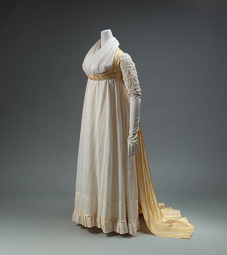 Open robe dress, 1795. In this English example of an Empire dress, French style is slavishly followed in the gown's high waist and modish stripes. But for all its classicizing details and shape, the gown retains vestiges of the ancien régime in its open-robe construction.