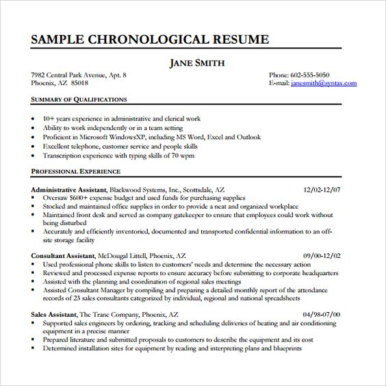 Chronological resume samples examples format example home design chronological resume samples examples format example home design idea pinterest malvernweather Images