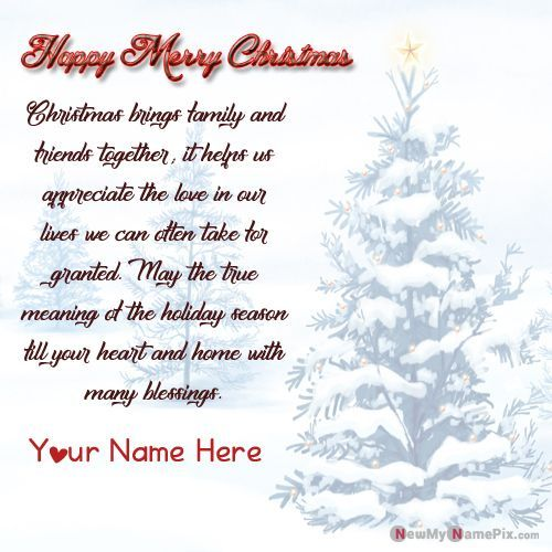 Merry Christmas Greeting Card With Name Pictures Create Free