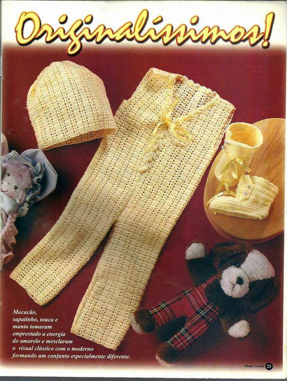 Crochê Tricô do Bebê: Macacão,touca e sapatinho em crochê