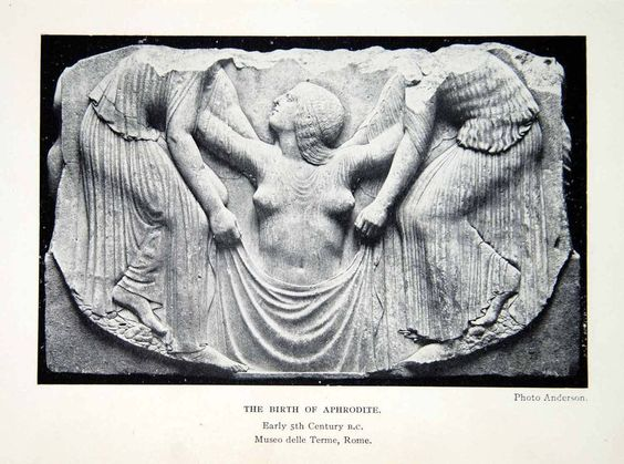 1925 Print Sculpture Carving Bas Relief Birth Aphrodite Nude Woman XHC6
