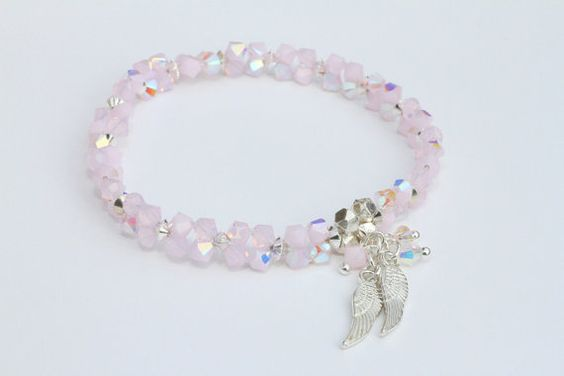 Angel Wing Swarovski Crystal Hand Woven Stretch Bracelet Rose Tones, £28.00 Hill Tribe Silver Beads Delicate Angel Wings Wedding Prom