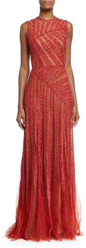 Elie Saab Sleeveless Linear-Beaded Gown, Cadillac                                                                                                                                                      More