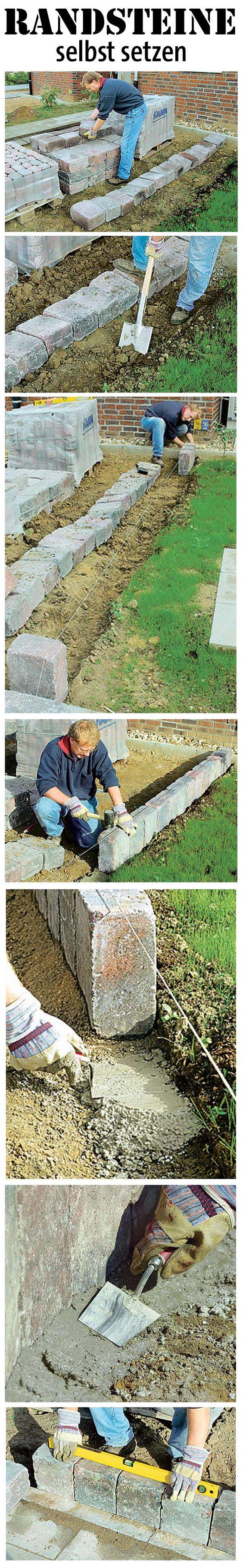 Schaffe eine Begrenzung im Garten, wo keine ist: Wir zeigen, wie man Randsteine für den Rasen selbst setzt.