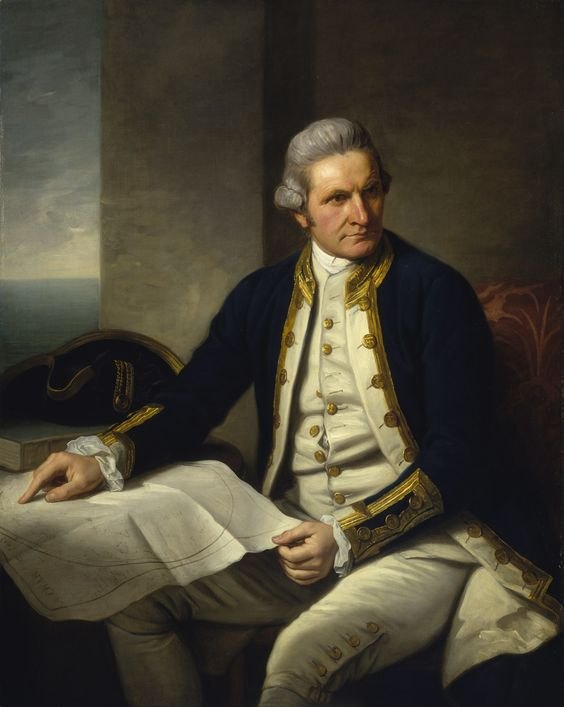 "Portrait of Captain James Cook (1728-79), circa 1776, by Nathaniel Dance. ""Captain Cook... is wearing captain's full-dress uniform, 1774-87, consisting of a navy blue jacket, white waistcoat with gold braid and gold buttons and white breeches. He wears a grey wig or his own hair powdered. He holds his own chart of the Southern Ocean on the table and his right hand points to the east coast of Australia on it."" - National Maritime Museum, Greenwich, London"