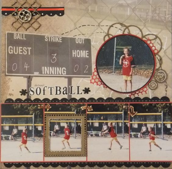 school softball - Scrapbook.com  Love the baseball collage paper from Paper House Productions, I like how the scoreboard is filled out.