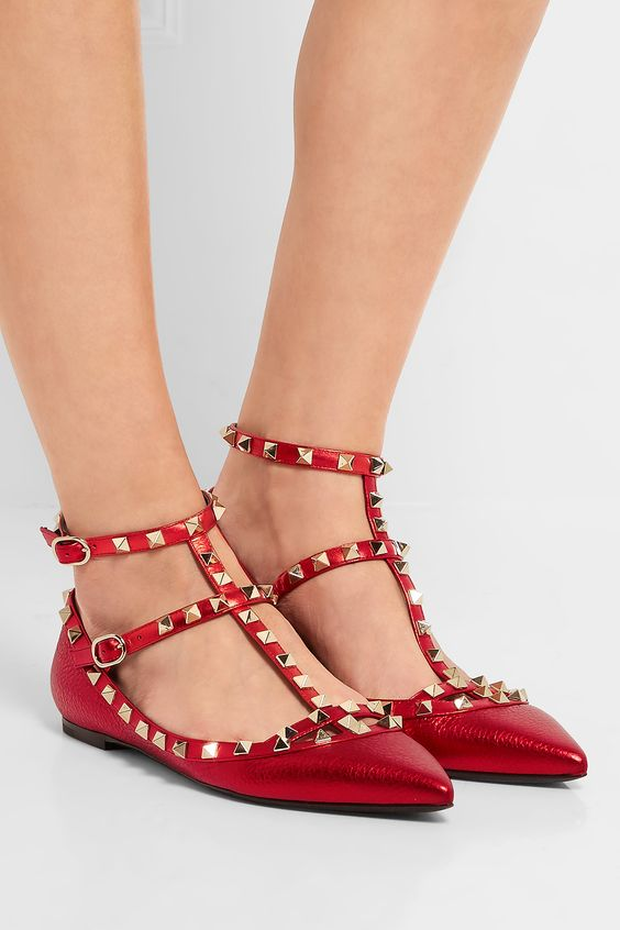 VALENTINO The Rockstud embellished metallic leather flats  $939.00 https://www.net-a-porter.com/product/725876