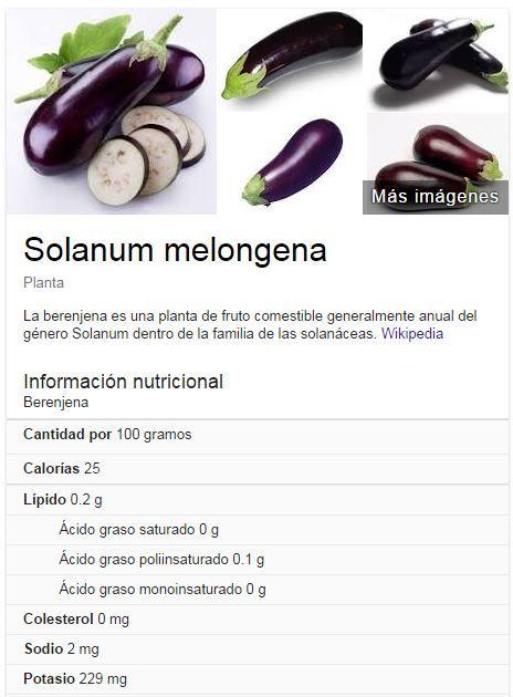 Alimentos Bajos en calorias, Berenjena