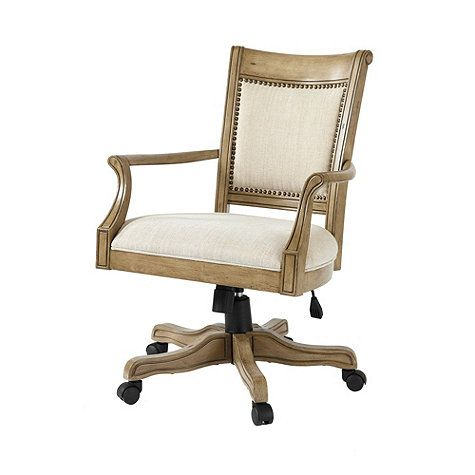 Kingston Desk Chair Aged Driftwood Oak with Linen Overall