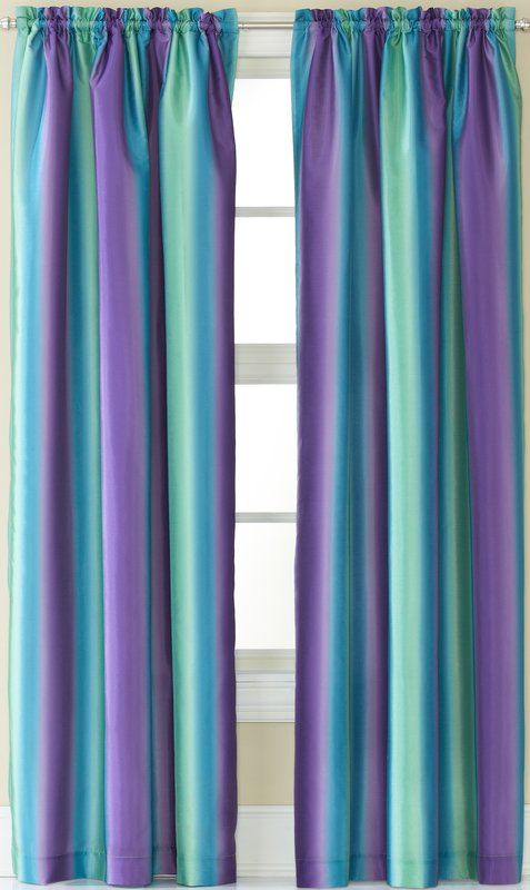 Darrius Striped Sheer Rod Pocket Single Curtain Panel With Images