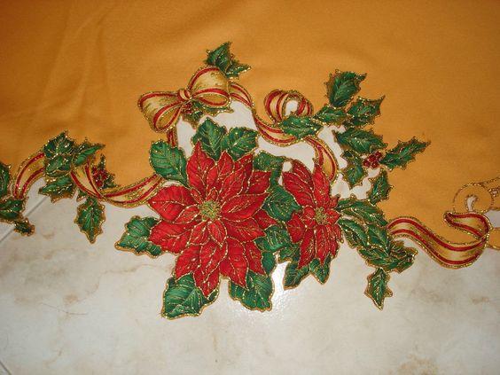 Hermoso mantel redondo navide o con aplicaciones y bordado como hacer un mantel redondo - Manteles navidenos ...