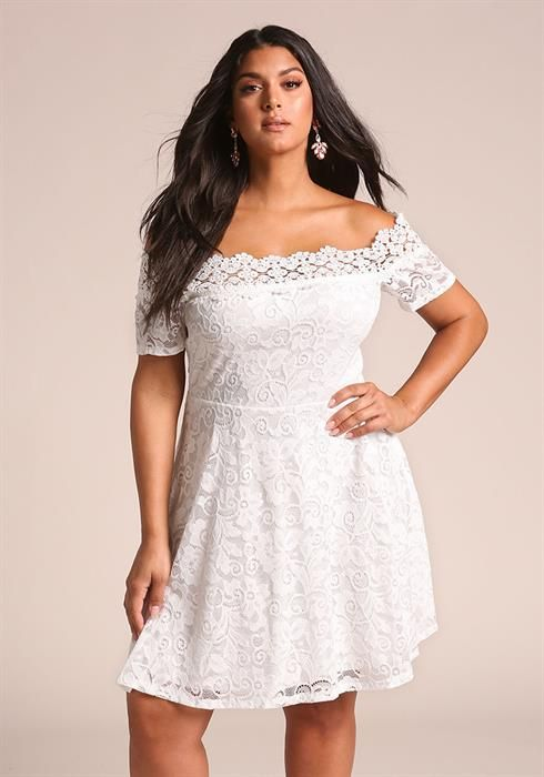 Plus Size Floral Lace Off Shoulder Flared Dress Plus Size Wedding Dresses With Sleeves Lace White Dress Lace Dress