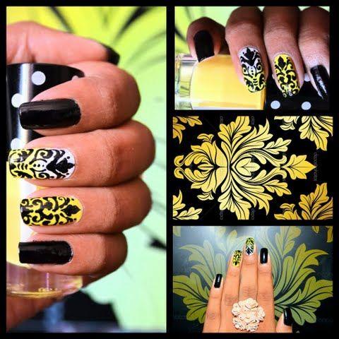 Damask Yellow&Black Nails by Priyanka S