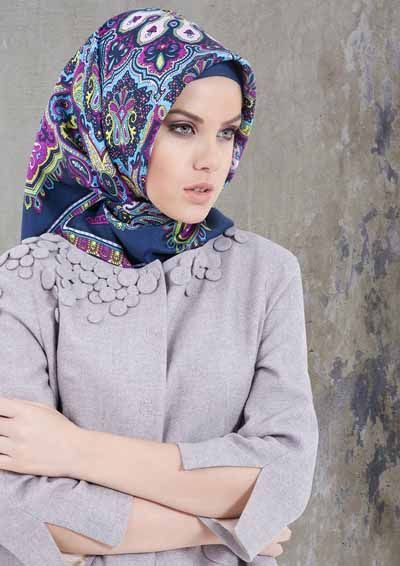 Blue Printed Silk Turkish Hijabs