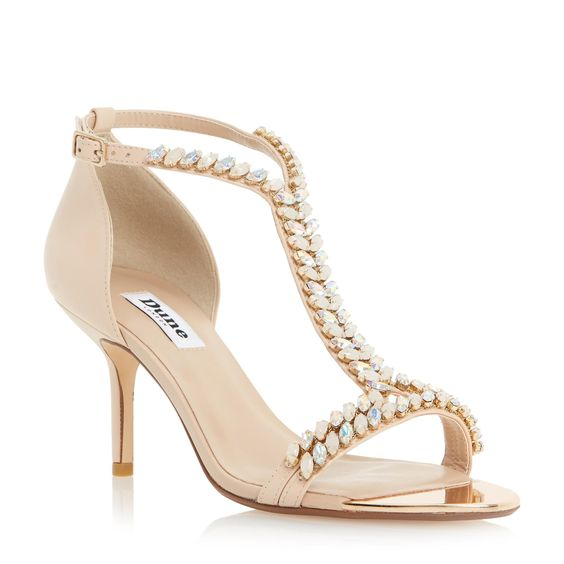 DUNE LADIES MELODEE - T-bar Jewelled Mid Heel Sandal - nude | Dune