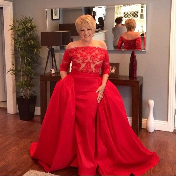 """Stunning gown we created for Lorna luft she looked beautiful in this red lace and silk taffeta creation . For custom dress info or booking a showroom…"""