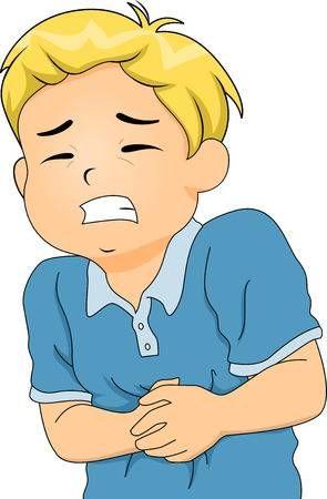 Ilustracion De Un Little Boy Encorvado De Dolores Estomacales Dolor Estomacal Actividades De Arte Para Preescolares Ninos Enfermos