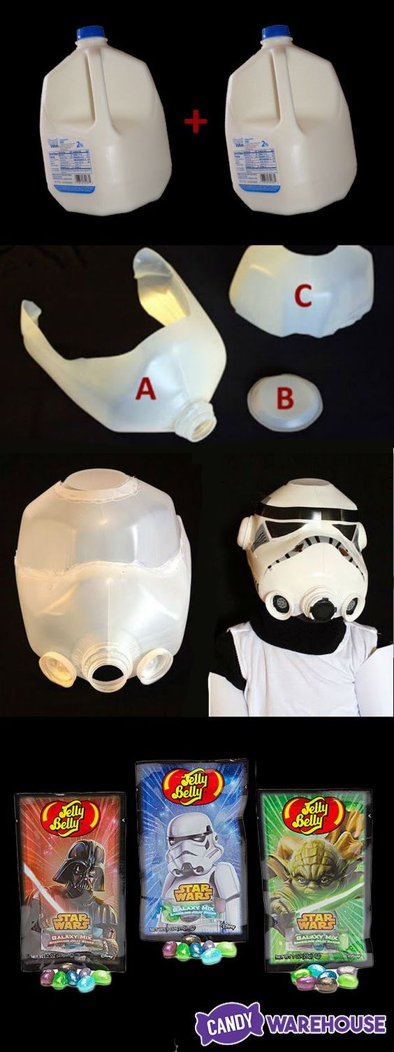 Adult DIY Halloween stormtrooper helmet made from two empty milk gallons and some craft paint! Great for an easy homemade Halloween costume. Brought to you by Jelly Belly Star Wars jelly beans. http://www.candywarehouse.com/products/jelly-belly-star-wars-jelly-beans-1-ounce-packs-24-piece-display/:
