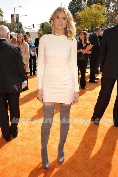 Heidi Klum White Long Sleeves Dress at Nickelodeon's 25th Annual Kids' Choice Awards (MF647G)