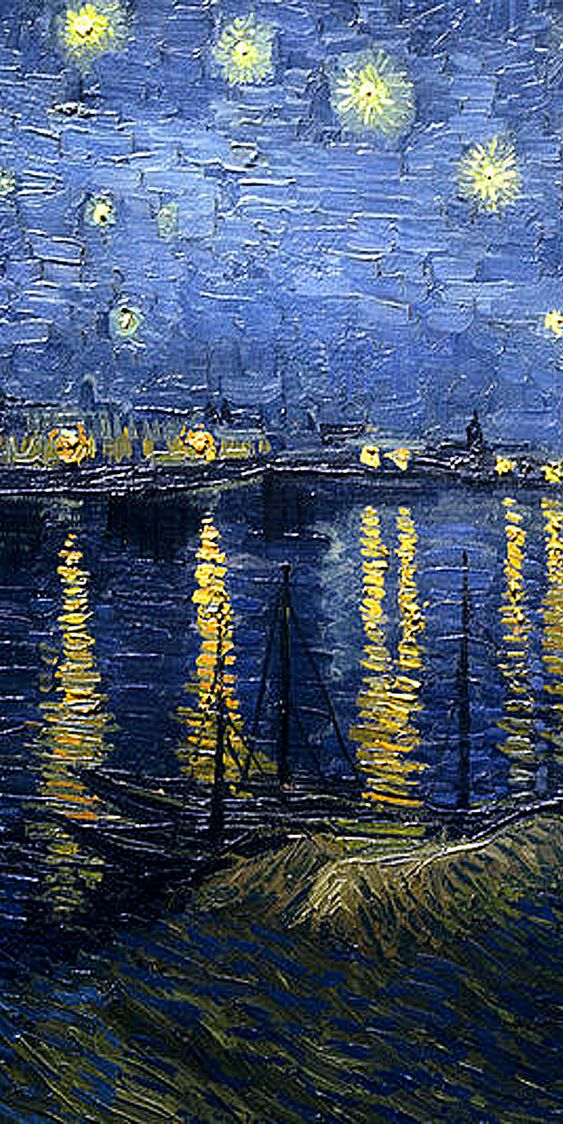 Vincent Van Gogh 'Starry Night over the Rhone' detail center: