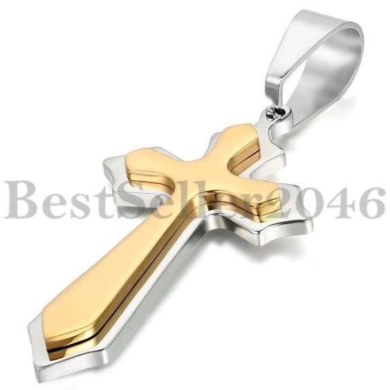Edelstahl Anhänger Halskette Silber Gold Kruzifix Kreuz Retro Polished Charm