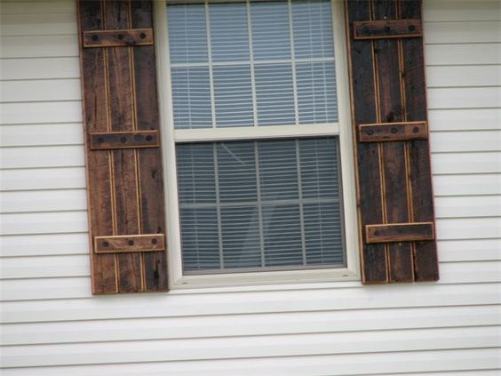 Reclaimed barn wood exterior shutters love the shutters hate the siding this little big will for Exterior shutters that look like wood