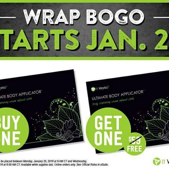 Girl! This just happened!!! BOGO, Buy one, get one free WRAPS!! 8 wraps for $59! Starting tomorrow at 10 am for 48 hours only, I have 5 spots open, are you interested???